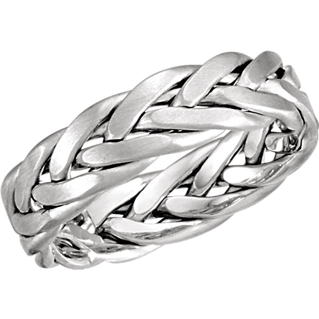14K White 6.5mm Woven Band with Matte Finish Size 8