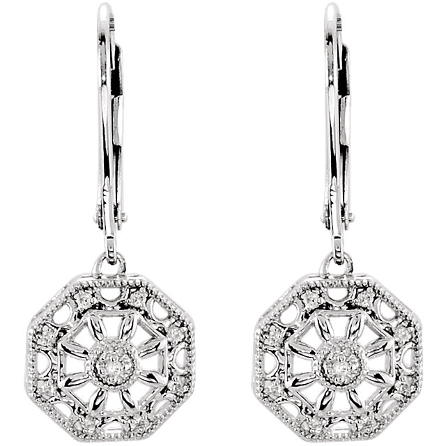 Sterling Silver .07 CTW Diamond Lever Back Earrings