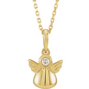 14K Yellow .03 CT Diamond Youth Angel Necklace