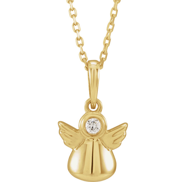 14K Yellow .03 CT Diamond Youth Angel Necklace