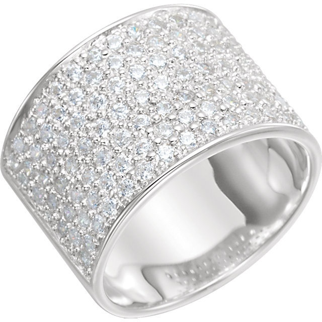Sterling Silver 1.5 mm Round Cubic Zirconia Micro Pavé Ring Size 7