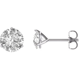 "Earrings , 14K White 6.5mm Round Forever Oneâ""¢ Moissanite Earrings"