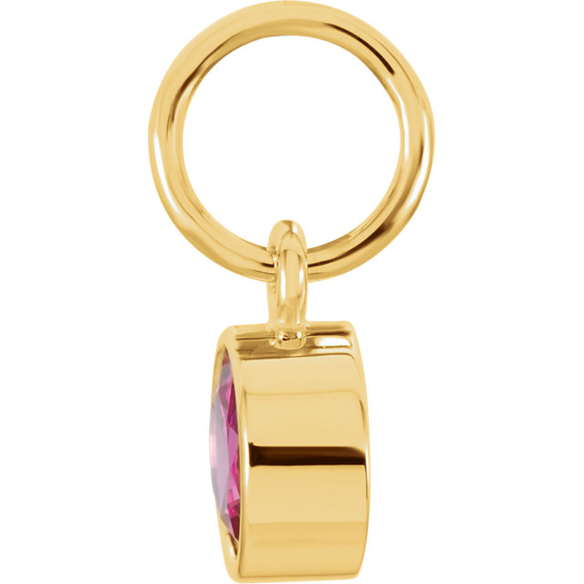 14K Yellow Imitation Ruby Birthstone Charm