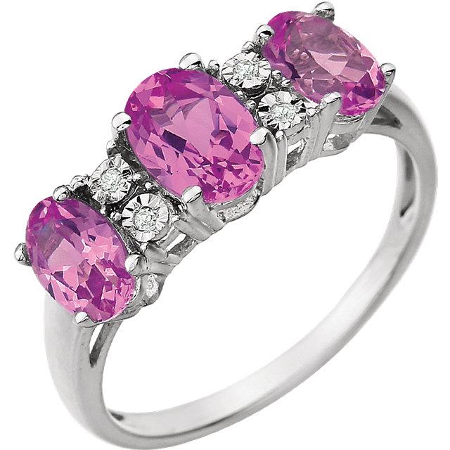 14K White 7x5 mm Created Pink Sapphire & .02 CTW Diamond Ring