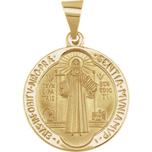 Pendant, 14K Yellow 18mm Round Solid St. Benedict Medal