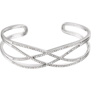 Bracelet, 14K White 3/4 CTW Diamond Criss-Cross Cuff 7