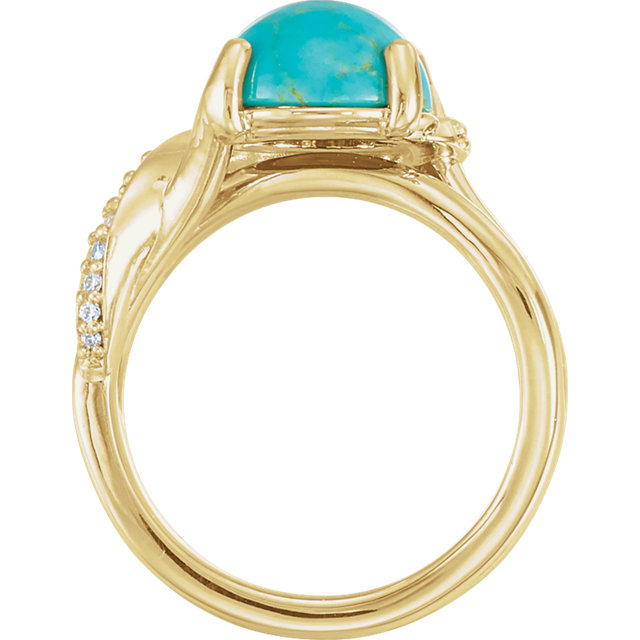 14K Yellow Turquoise & 1/6 CTW Diamond Ring