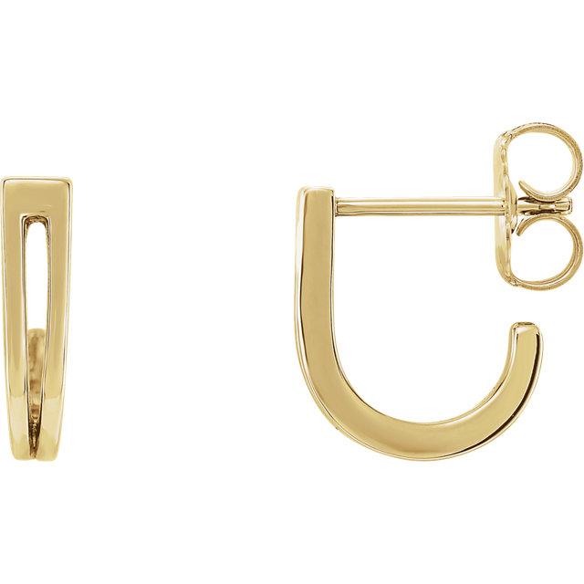14K Yellow Geometric J-Hoop Earrings