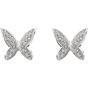 14K White .07 CTW Diamond Butterfly Youth Earrings