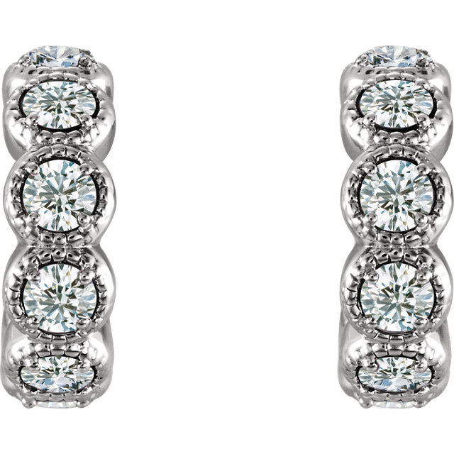 14K White 7/8 CTW Diamond Hoop Earrings
