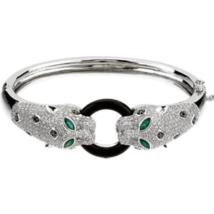 14K White Emerald, Onyx & 2 1/2 CTW Diamond Cuff Bracelet