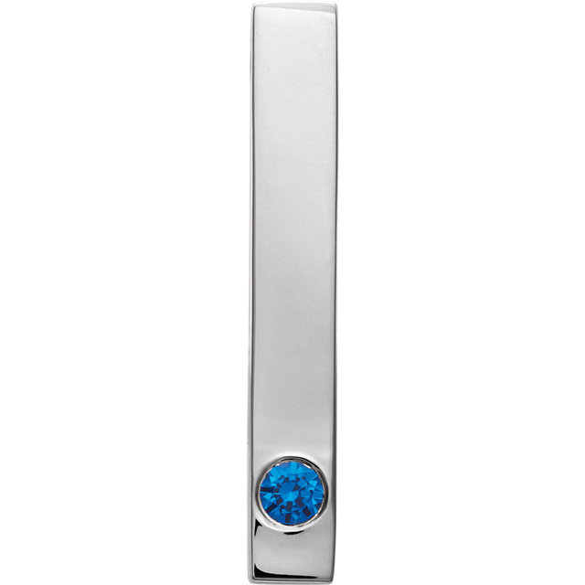 Sterling Silver Blue Sapphire Family Engravable Bar Slide Pendant