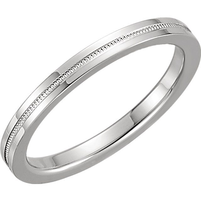 14K White 2mm Flat Comfort Fit Milgrain Band Size 6