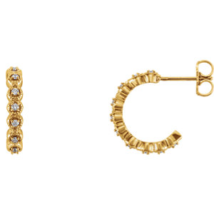 14K Yellow 1/6 CTW Diamond J-Hoop Earring