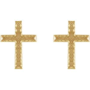 14K Yellow 13x9mm Cross Earrings