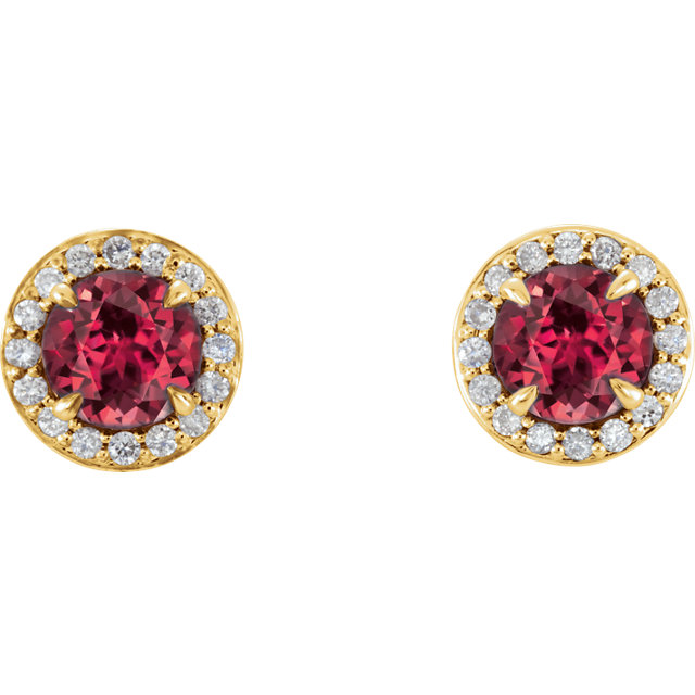 14K Yellow 3.5 mm Round Chatham® Created Ruby & 1/8 CTW Diamond Earrings