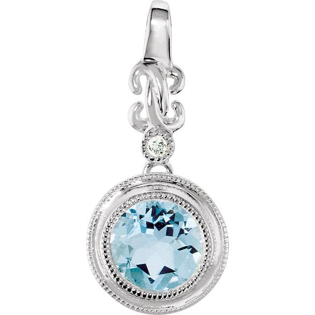 14K White Aquamarine & .01 CTW Diamond Pendant