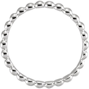 Sterling Silver 2.5mm Beaded Stackable Ring Size 8