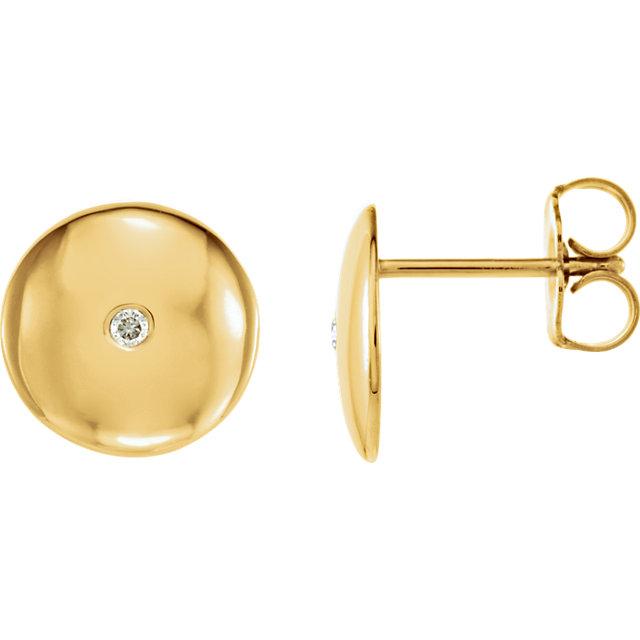 14K Yellow  .03 CTW Diamond Domed Earrings