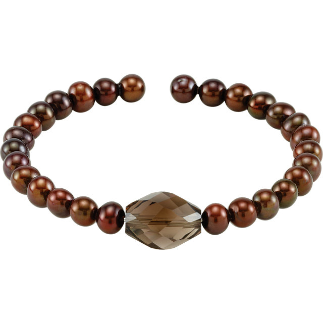 Copper Freshwater Cultured Pearl & Smoky Quartz Bracelet