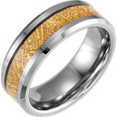 Tungsten Band with Imitation Gold Meteorite Inlay