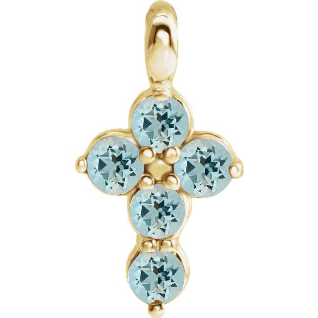 14K Yellow Aquamarine Cross Pendant
