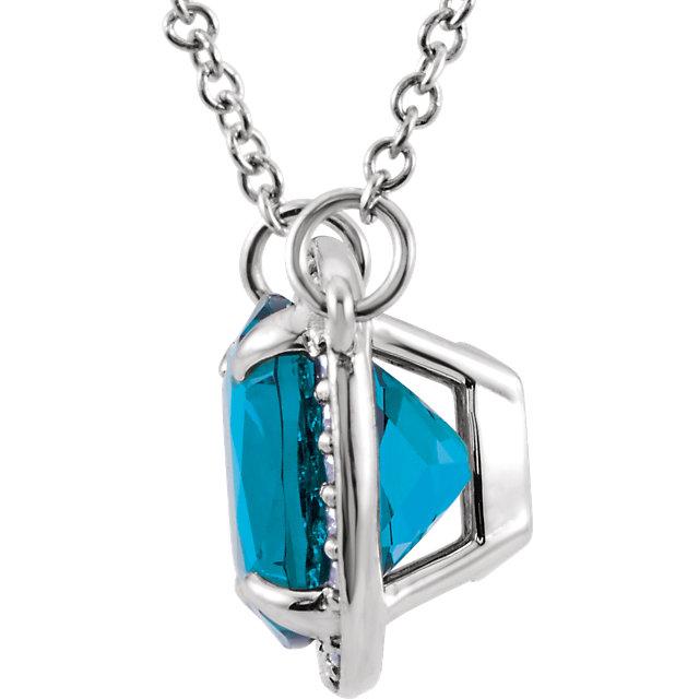 14K White Swiss Blue Topaz & .06 CTW Diamond 16