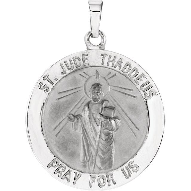 14K White 22 mm Round St. Jude Thaddeus Medal