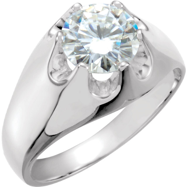 14K White 8.5mm Round Forever Classic™ Moissanite Belcher Ring