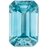 Emerald/Octagon Genuine Blue Zircon