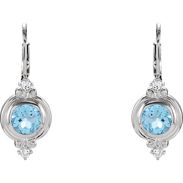 Sterling Silver Swiss Blue Topaz & Cubic Zirconia Leverback Earrings