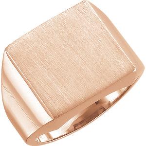 Fashion Rings , 10K Rose 18mm Men's Signet Ring with Brush Finish