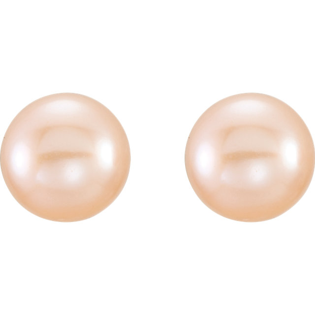 14K Yellow 6-7mm Pink Freshwater Cultured Pearl Earrings