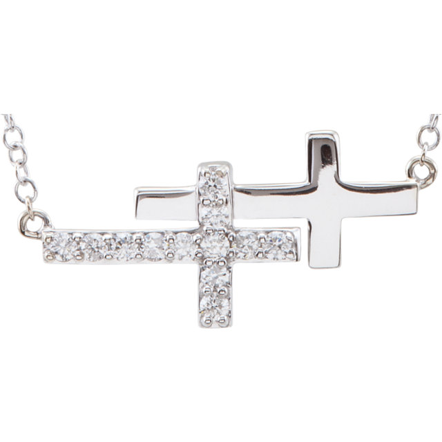 Sterling Silver Cubic Zirconia Double Sideways Cross 18