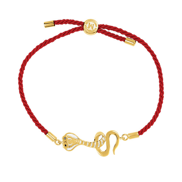 18K Yellow Vermeil Serpent Symbol for Temptation Red Satin 8