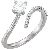 Charles & Colvard Moissanite® & Diamond Accented Ring
