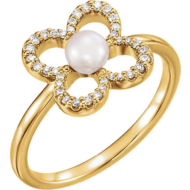 14K Yellow Freshwater Cultured Pearl & 1/6 CTW Diamond Ring