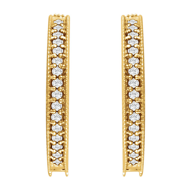 14K Yellow 1/5 CTW Diamond Milgrain Hoop Earrings