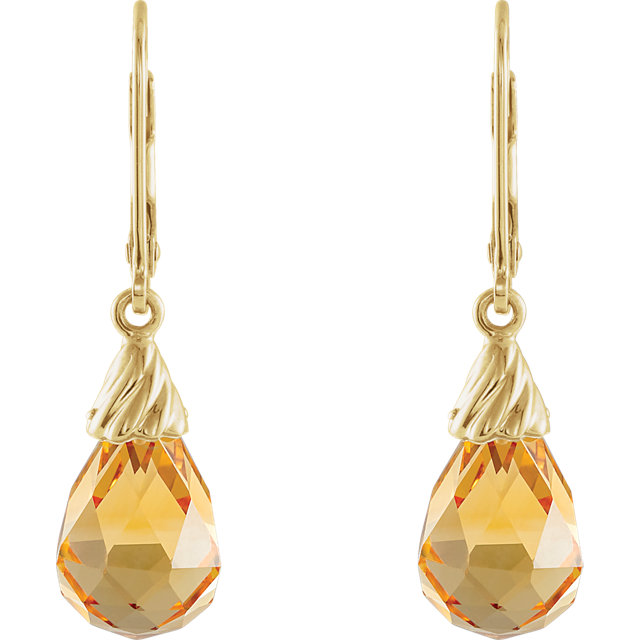 14K Yellow Citrine Briolette Earrings
