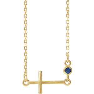 Necklace / Chain , Accented Bezel-Set Sideways Cross Necklace