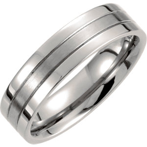 Titanium 6mm Grooved Band Size 7