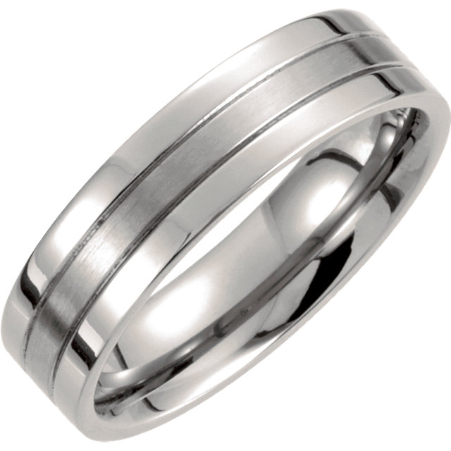 Titanium 6 mm Grooved Band Size 7