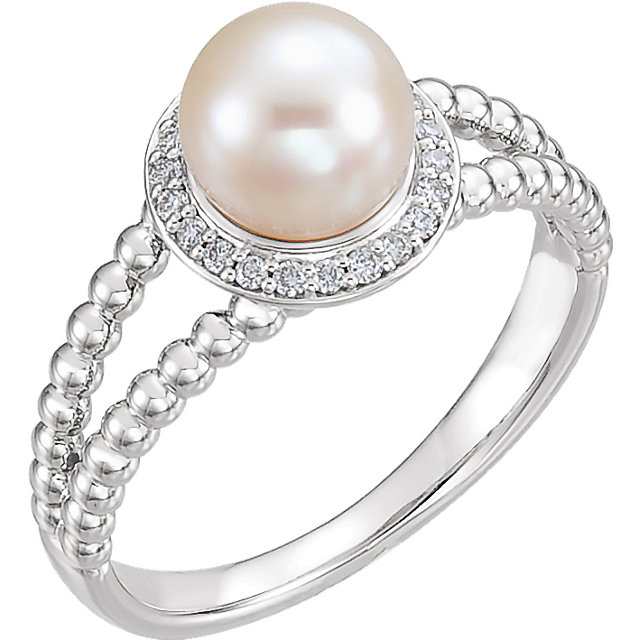 14K White Freshwater Cultured Pearl & 1/8 CTW Diamond Ring
