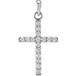 14K White 1/4 CTW Diamond Cross Pendant