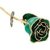 Lacquered Emerald Rose with Gold Trim