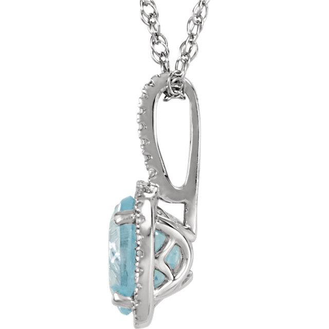 Sterling Silver 7 mm Aquamarine & .015 CTW Diamond 18