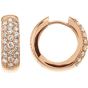 14K Rose 3/4 CTW Diamond Hoop Earrings