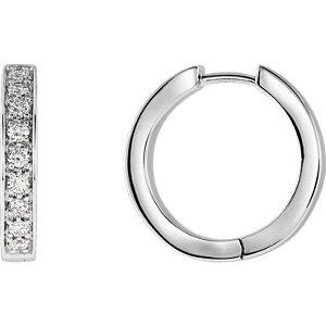 14K White 3/4 CTW Diamond Inside/Outside Hoop Earrings
