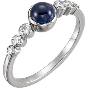 Fashion Rings , 14K White Blue Sapphire & 1/6 CTW Diamond Ring