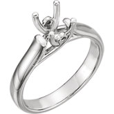 4-Prong Woven Solitaire Engagement Ring with Accent
